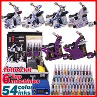 Cheap Complete Professional Tattoo Kit 6 Tattoo Machine Guns 54 Colors Inks Suitcase Power Needles Grips Tips Free Shipping TZ61