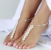 Wholesale 200pairs LJJD3131 Fashion Imitation white Pearl Foot Jewelry Pearl Anklet Bracelet Ankle Chain Crochet Anklet Bracelet Ankle Chain