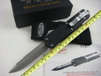 damascus hunting knife - Hot sale Microtech combat Troodon A07 Damascus Blade HRC single blade camping gear bowie knife hunting knives survival knives M