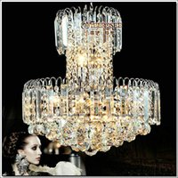 Wholesale Pendant Lights Lustres De Cristal Lamparas Colgantes Empire Chrome Crystal Pendant Light Fixture Silver Lamp Suspension Drop