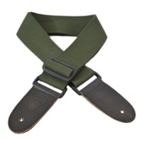 Wholesale Bass Electric Acoustic Guitar Strap Belt Army Green Leather Ends