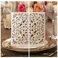 Wholesale 2016 Personal Custom Champagne Floral Laser Cut Hollow Wedding Invitations Top Sale Wedding Favors And Cards Wedding Suppliers