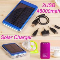 Wholesale Solar Battery Chargers High Capacity mAh Portable Dual USB Solar Energy Panel Charger Power Bank For Mobile Phone PAD MP4 Laptop Table