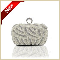 Wholesale Hand Bags Pearl Evening Bag Diamond Gold Clutch Gorgeous Bridal Wedding Party Chain Bag