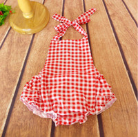 Wholesale Vintage Infant Toddler Baby lattice Jumpsuit Red White plaid Baby Rompers girls bubble romper for kids Ready to Ship