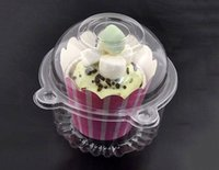Wholesale New Clear Plastic Single Cupcake Individual Muffin Case Puff Cup Cake Boxes