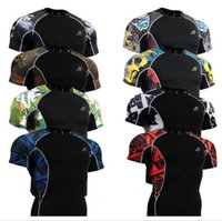 mma shirt - Mens Compression Running Shirts Gym MMA Yoga Weightlifting Skin Tight Short Fitness Base Layers Bodybuilding Sports Clothing