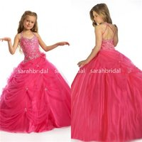 Wholesale Flower Girls Dresses Crystals Long Little Girl s Pageant Todder Kids For Girl Infant Cheap Watermelon Communion Prom Ball Party Gown