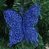 artifical christmas trees - Hot Sale Blue Hollow Out Artifical Christmas Bow Merry Christmas Tree Decoration For Home g