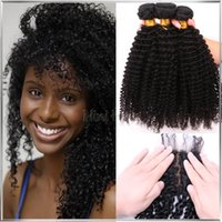 Cheap 7A Mongolian Kinky Curly Virgin Hair With Silk Closure Free Middle 3 Part Silk Base Closure With Bundles Human Hair Weave With Closure