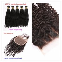 human hair afro wigs - 7A Afro kinky Curly Virgin Hair lace closure free part with Bundles Kinky Curly Human Hair Weave pieces huaman hair extensions