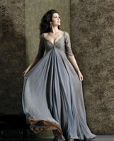 sexy mother - Sexy Chiffon Mother of the Bride Dresses V neck Dazzling Empire Lace Floor Length Half Sleeve Grey Formal Wedding Party Gowns LX