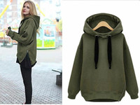 Wholesale Arm Green New Winter Autumn Loose Hooded Jacket Plus Size Thick Velvet Long sleeve Sweatshirt Korean Style Hoodies g pc