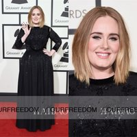 Wholesale 58th Grammy Awards Adele Long Sleeve A Line Celebrity Dresses Black Sequined Embroidery Empire Waist Formal Evening Dresses Custom Made