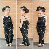 american drain - 2015 Summer New Girls Dot Printing Flounced Drain Back Straps Leotard European And American Style Cute Girls Pocket Decorative Coveralls