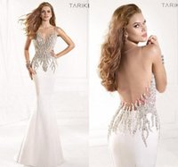 Wholesale Cheap Summer Sheer Tarik Ediz Formal Evening Dresses Sexy Illusion Crystal Rhinestone Beaded Backless Mermaid Pageant Prom Gown TE93029