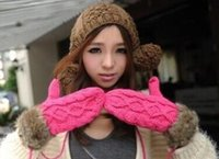 Wholesale Lovely winter Korean style thick warm fur glove neck hung wool mittens women gloves