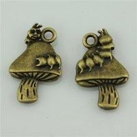 antique caterpillar - 60pcs mm antique bronze plated Caterpillar mushroom charms diy vintage jewelry