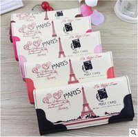 american pillow - 50pcs CCA3017 New Arrival European Style Fashion Women Purse Colorful Paris Eiffel Tower Print PU Leather Wallet Card Holder Clutch Bags