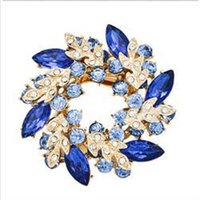 Wholesale 2014 Brand New Fashion Jewelry for Women Bauhinia Brooches Rhinestone Crystal Floral Brooches Women