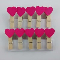 Wholesale 10x Love Heart Wooden Mini Clips mm Memo Note Clips Photo Paper Wood Pegs Kids Crafts Wedding Party Favor decor