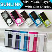 Wholesale LCD Screen Hot Mini Clip Mp3 player with LED Flashlight Support Micro SD TF Sport Mp3 Music Player with USB Charging Cable