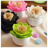 Wholesale 1pc Fashion Colors Lotus Home Decor Toothpick Cotton Swab Holder Storage Box Pick Toothpick case IC870661