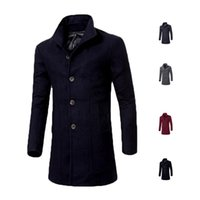 Wholesale S5Q Mens Autumn And Winter Fashion Solid Color Lapel Slim Long Section Wool Coat AAAFNS