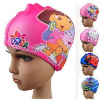 hat factory - Swimming Caps Boys Girls Hats Cartoon Dora Spiderman Cars KT Thomas for Children Kids Child Lycra Swim Bathing Cap Digital Print DHL Factory