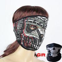 Precio de Cráneo del sombrero del esquí-Halloween diseñó Ghost Party Máscara facial máscara de cráneo sombrero al aire libre Bicicleta de ciclismo moto esquí de esquí traje a prueba de viento Máscara Neopreno NUEVO