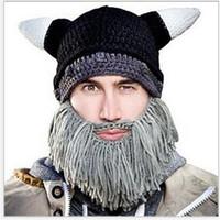 Sombreros Beanie cráneo Caps barbudo de punto Sombreros Vikingos Cuerno punto Hat Calentador Ski Bike cráneo sombrero unisex Hombres Niños Barba Cap para el invierno