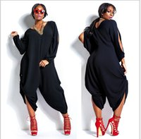 Wholesale plus size XL XXL XXXL XXXXL Summer Autumn style women V Neck chiffon casual jumpsuit rompers playsuit overalls loose