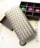womens wholesale handbags - 2014 iVintage womens ladies purse medium long pu wallet handbags zipper fashion grid wallets