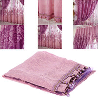 Wholesale European Top grade Peony Pattern Half Shading Burnt out Curtain for Door Window Room Decoration Window Screening Pastoral Curtains Bed H1614