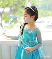 Wholesale Cheap In stock Frozen Anna Elsa Dress Knee Length Christmas Eve Theme Party Costumes New Year s Girls Cosplay Pageant Gowns BO6799
