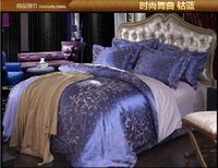 Wholesale Luxury blue satin jacquard bedding comforter set king queen size duvet cover bedspread bed in a bag sheet home texile bedroom linen fashion