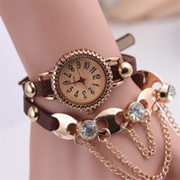 auto fashion online - Unique Watches Multi colors Leather Watch Bands for Girls Stainless Steel Material Fashion Bracelet Watches Online w