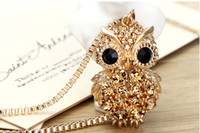 animals nc - owl long necklace k real gold tone NC cute fashion pendant with long chains Rihood Jewelry