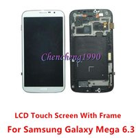 For Samsung LCD Screen Panels SM88809 For Samsung Galaxy Mega 6.3 I9200 i9205 i527 Original lcd touch screen Digitizer With lcd middle bezel frame black white for mega 6.3
