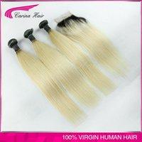 al por mayor de calidad superior 613 del pelo recto-Calidad superior de dos tonos del pelo humano 1b 613 peruana Straight Hair Weaving No Maraña No Arrojando las extensiones del pelo Ombre