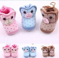 Wholesale Spotted Baby Shoes - 2015 Winter!Cartoon animal head warm baby shoes,coral fleece toddler shoes,love spot children indoor shoes,kids snow boots!12pairs 24pcs.ZH