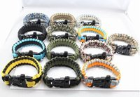 Wholesale new arrival Survivor Bracelet Emergency Paracord Camping Survival Parachute Cord Bracelet with Whistle Buckle