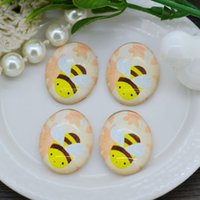 bee pictures for kids - 10PCS Bee Oval Cartoon Glass Dome Cabochon Cute Picture For Children Kids Jewelry DIY X25mm x18mm