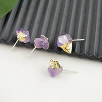 Wholesale Druzy Drusy pair Gold Plated Amethyst Stone Stud Earrings Jewelry Finding