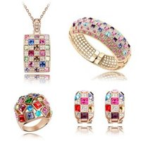Wholesale Limted Edition European and American style luxury crystal colorful earring necklace bracelet and ring set popular party jewelry set L716