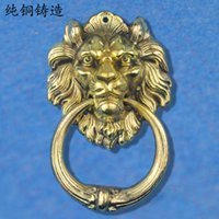 antique door knockers - Special price full copper handle antique unicorn beast lion head door knocker door handle Chinese handle