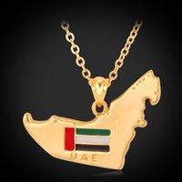 Middle Eastern arab emirates uae - The United Arab Emirates UAE Map Pendant Enamel Charms Necklace K Gold Plated Cool Dubai Jewelry Statement Necklace YP192