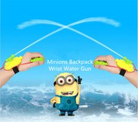 Cheap 2015 new Minions Backpack Wrist Water Gun Despicable me Water Games Pressure Gun Outdoor Play Sand Play Water Toys for Kids free shippinig