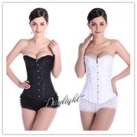 Sexy white lace up corset - 2015 Steel Boned Waist Training Corset Woman s Lace Up Back Dobby Plus Size Boned Waist Cincher Top White Black Corset Shaperwear S XL