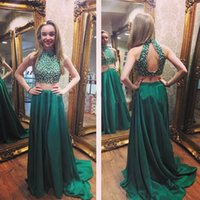 affordable quality - 2015 Top Quality Two Pieces Prom Dresses Real Photos A Line Satin Beaded Long Hunter Green Evening Dresses Affordable Sexy Vestido De Renda